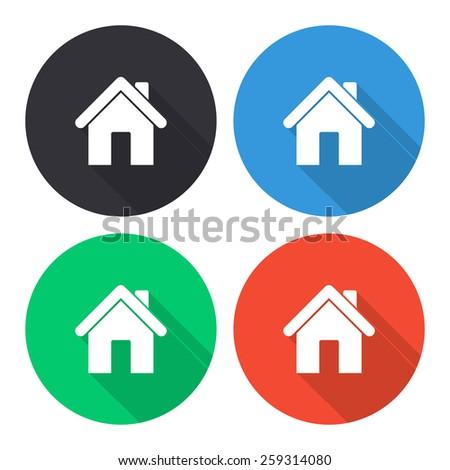 Home vector icon - colored(gray, blue, green, red) round buttons with long shadow - stock vector