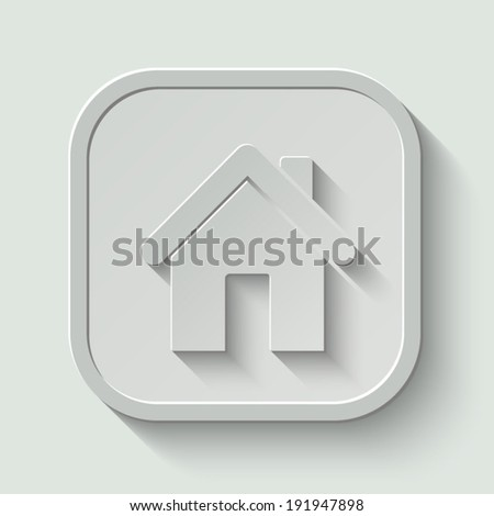 home vector icon - paper button with shadow on light background - stock vector