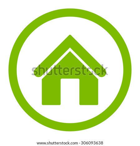 Home vector icon. This rounded flat symbol is drawn with eco green color on a white background. - stock vector