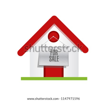 home  with a for sale banner sign over a white background