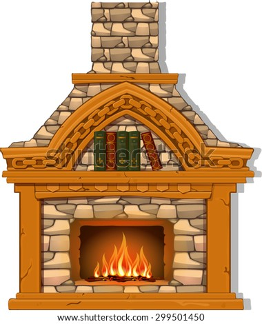 home with fireplace light brown color warm in the cold season - stock vector
