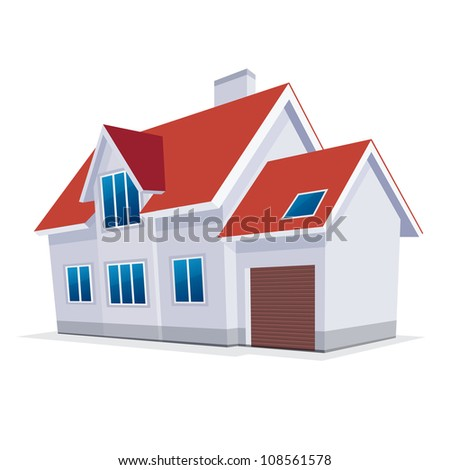 home with garage. Vector Illustration. icon - stock vector