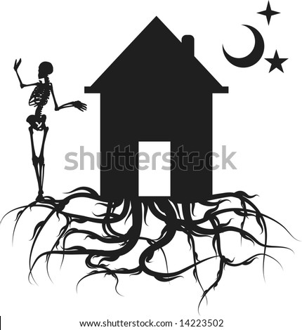 Home with roots and skeleton. One color.