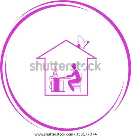 home work. Internet button. Vector icon. - stock vector