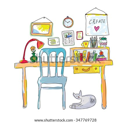 Home workplace for designer sketch - interior hand drawn vector illustration - stock vector