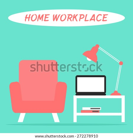 Home workplace in the living room interior with laptop, lamp, armchair and table. Flat style vector illustration.  - stock vector