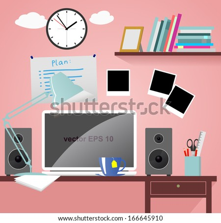 Home workspace with computer, speakers, lamp, books, clock, photo frames, and furniture. Vector  - stock vector