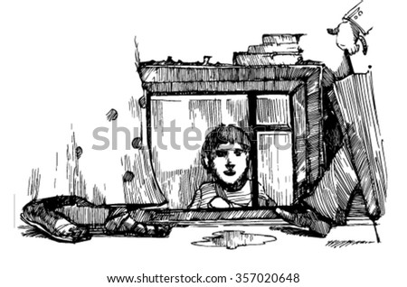 homeless boy. Homeless boy looks at passersby from the basement. ground floor. - stock vector