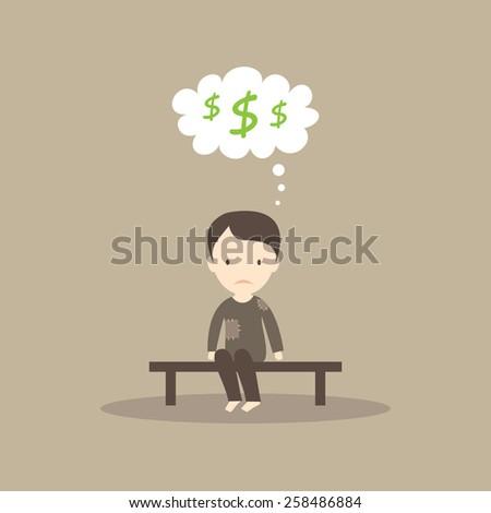 Homeless man dreaming of money - stock vector
