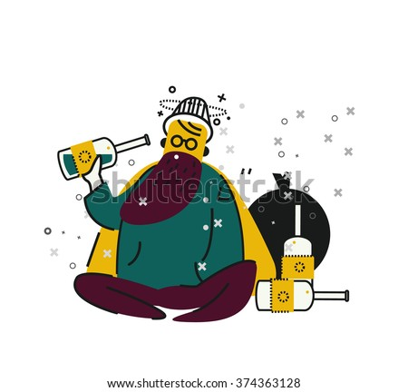 Homeless man drinking alcohol on street. unemployment and homeless issues. flat thin line character. vector illustration - stock vector