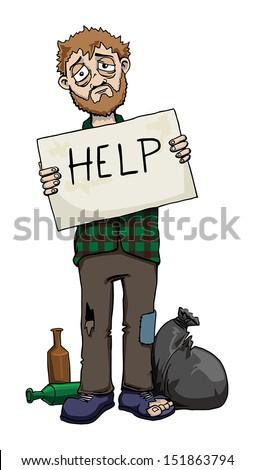 "Homeless man holding ""Help"" sign, vector illustration  - stock vector"