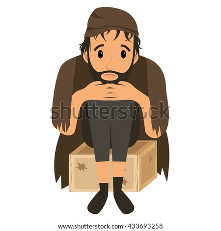 Homeless man in dirty old clothes on wooden box . Vector flat cartoon illustration - stock vector