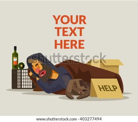 Homeless man sleeping. Vector flat cartoon illustration - stock vector