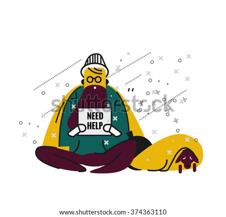 Homeless man with a dog on street. unemployment and homeless issues. flat thin line character. vector illustration - stock vector