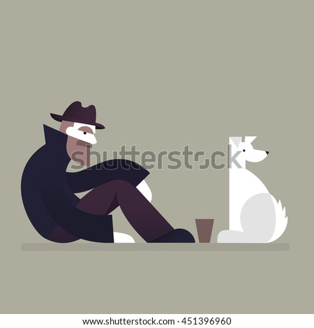 Homeless man with a dog sitting on street. Homelessness and unemployment concept. Vector.  - stock vector