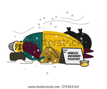 Homeless man with a dog sleeping on street. unemployment and homeless issues. flat thin line character. vector illustration - stock vector