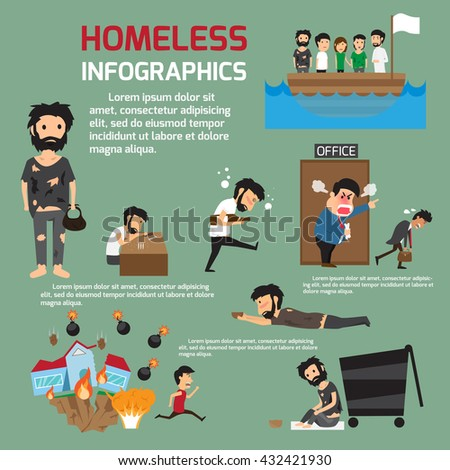 Homeless people infographics. vector illustration - stock vector