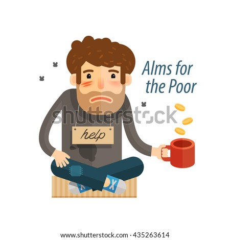 Homeless. Poor  man in dirty rags with mug in hand begging. Vector illustration - stock vector