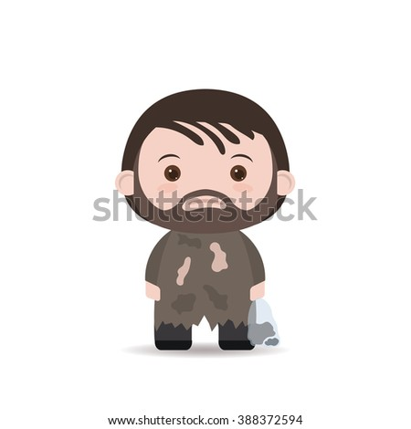 Homeless. Shaggy man in dirty rags. with dust bag. - stock vector