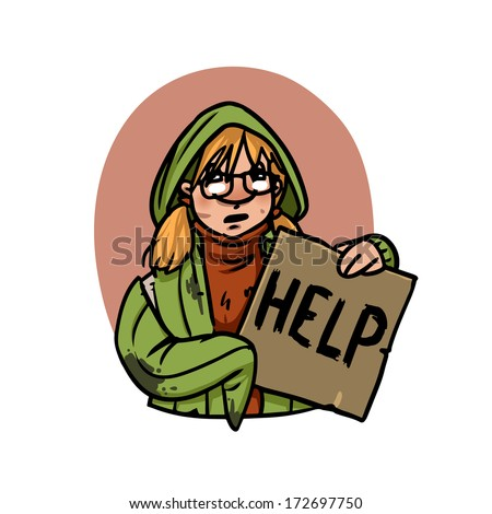 homeless teenage girl with help sign - stock vector