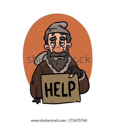 homeless with HELP sign - stock vector
