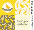 Homemade banana jam collection. Paper label and seamless patterns with Gingham, Polka Dot and Berries on color and light background. Perfect for wallpaper, wrapping paper, textile and package design - stock vector
