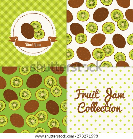 Homemade kiwi jam collection. Paper label and seamless patterns with Gingham, Polka Dot and Berries on color and light background. Perfect for wallpaper, wrapping paper, textile and package design - stock vector