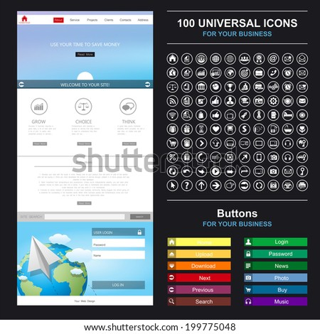 Homepage. A page website design template. Flat Web Design, set elements, buttons, icons, gui,  concept illustrations. - stock vector
