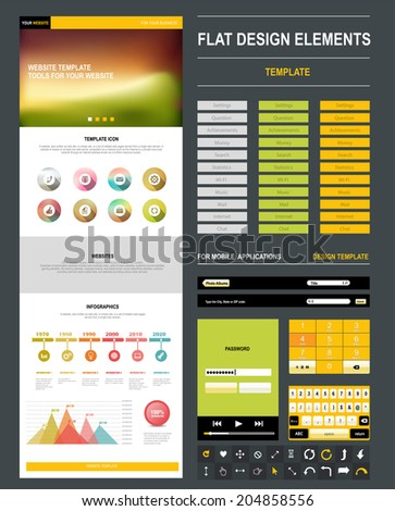 Homepage. A Page Website Design Template. Flat Web Design, Set Elements,  Buttons