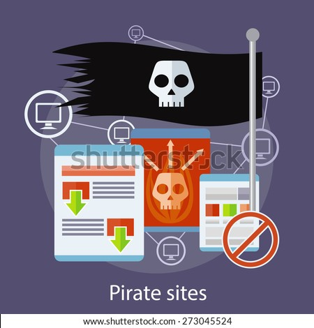 Homepage of pirate sites with flag concept. Can be used for web banners, marketing and promotional materials, presentation templates  - stock vector