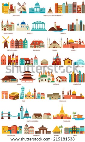 Homes from the world - stock vector