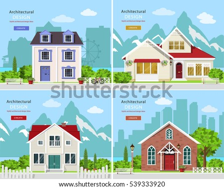Homes Set. Cute Graphic Private Houses With City Landscape And Stylish  Houses With Rocky Mountains