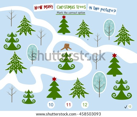 Homework for kids How many trees in the picture. Preschool education