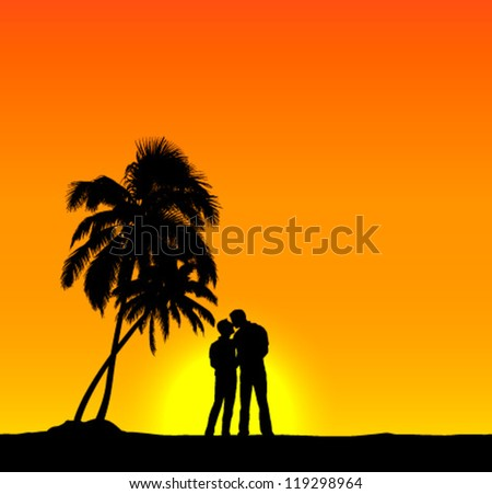 Homosexual couple  romantic background - stock vector