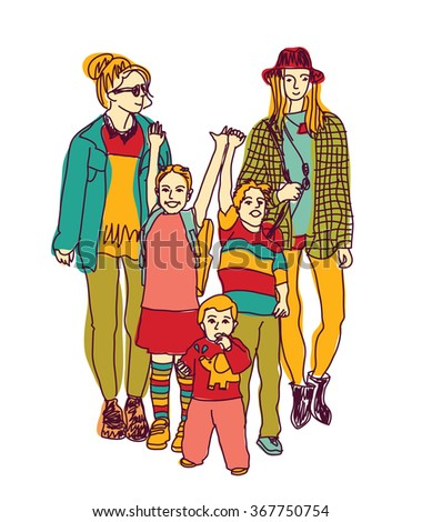 Homosexual gay lesbian woman lgbt family couple and kids. Color vector illustration. EPS8 - stock vector