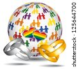Homosexual marriage and adoption world icon. LGBT flag. Vector icon. - stock vector