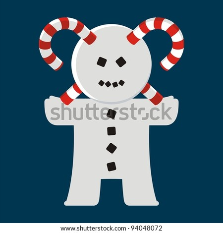 Homunculus. # 11 (Christmas snowman) An abstract illustration of urban style for printing on various media.