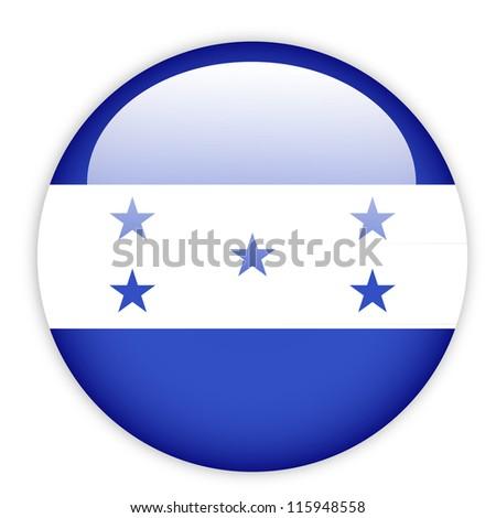 Honduras flag button on white - stock vector