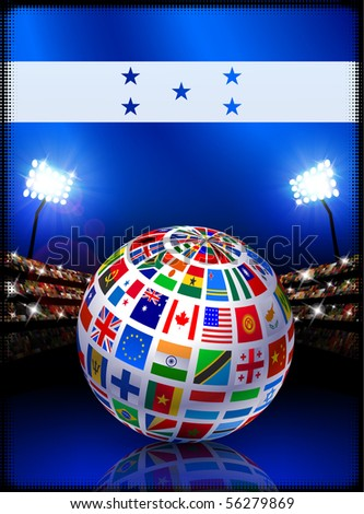 Honduras Flag Globe on Stadium Background Original Illustration - stock vector