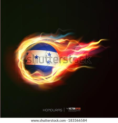 Honduras flag with flying soccer ball on fire isolated black background, vector illustration - stock vector