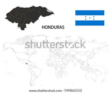 Honduras Map On A World Map With Flag On White Background.