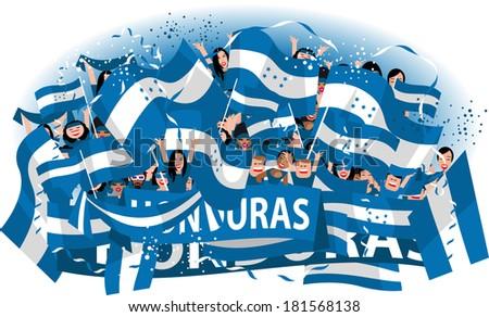 Honduras soccer fans - stock vector
