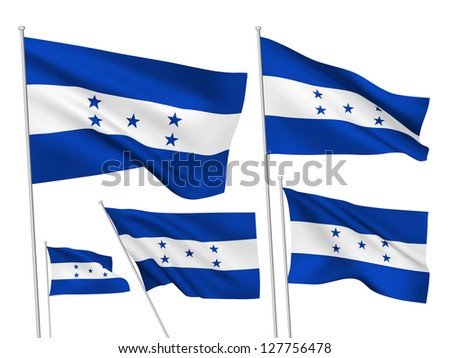 Honduras vector flags. A set of 5 wavy 3D flags created using gradient meshes - stock vector