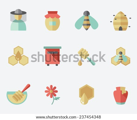 Honey and beekeeping icons, flat design - stock vector