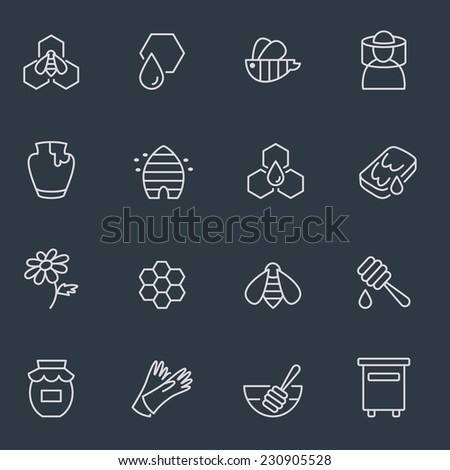 Honey and beekeeping icons, thin line design, dark background - stock vector