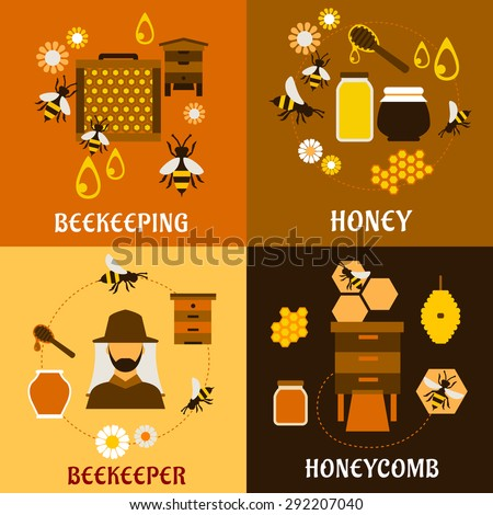Honey and beekeeping industry design with beekeeper, apiculture icons such as flying bees, beehives and frames, honeycombs, honey jars with dippers and flowers. Apiary - stock vector