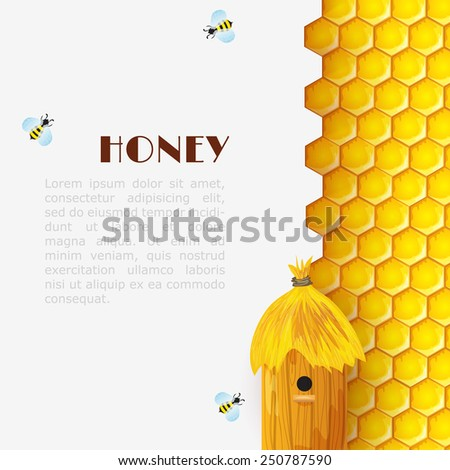 Honey background with hexagon honeycomb beehive and bumblebees insects vector illustration - stock vector