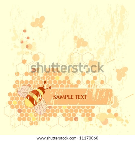 Honey Bee Banner - stock vector