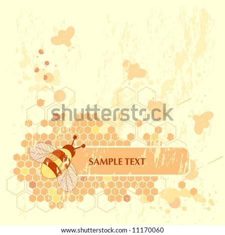 Honey Bee Banner - stock vector