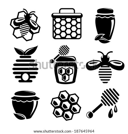 Honey bee hive and cell food agriculture black silhouette icons set isolated vector illustration - stock vector